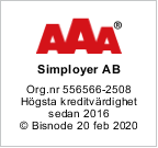 Simployer AAA högsta kreditvänlighet från Bisnode