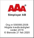 Simployer AB Högsta kreditvärdighet AAA