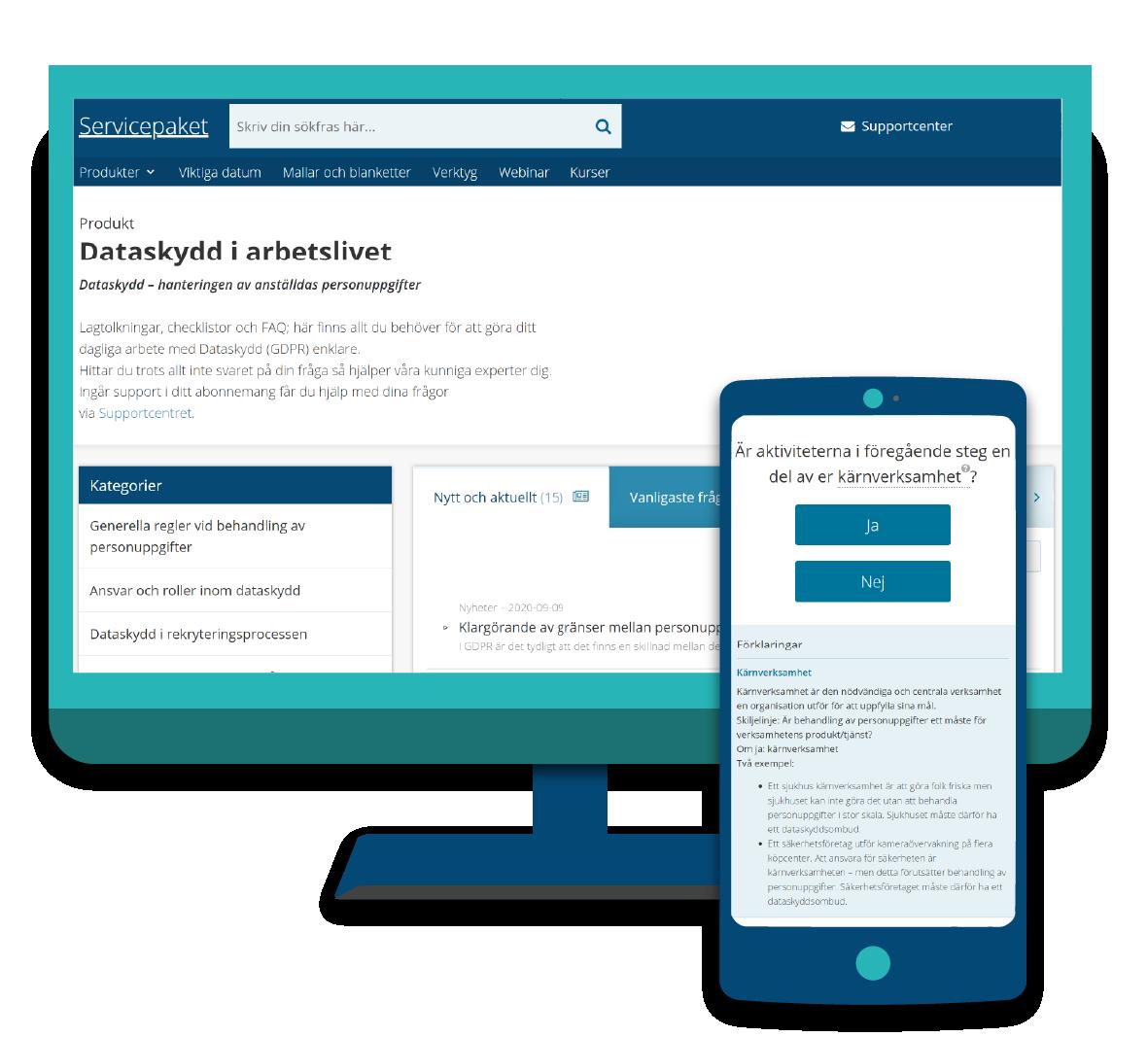 Servicepaket Dataskydd i arbetslivet i dator och mobil